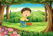 En chockad pojke på skog — Stockvektor