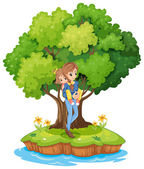 An island with a mother carrying her daughter — Stock Vector