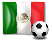 A soccer ball in front of the Mexico flag — Stock Vector