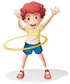 A young boy playing with the hulahoop — Stock vektor