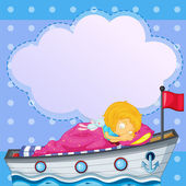 A girl sleeping above the boat with an empty callout — Stock Vector