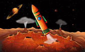 An orange rocket in the outerspace — Vecteur