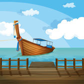 A boat near the seaport — Stock Vector