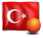 The flag of Turkey with a ball — Stock Vector