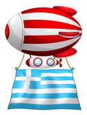 The flag of Greece attached to the floating balloon — Vecteur