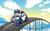 Un oficial y su coche patrulla en medio del camino — Vector de stock