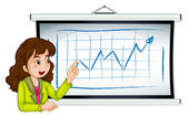 A lady explaining the graph — Stock Vector