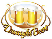 A draught beer label with two mugs of beer — Stock Vector