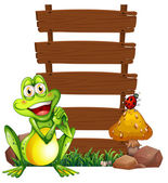 A smiling frog in front of the empty signboards — Stock Vector
