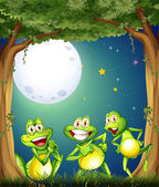 Three playful frogs playing at the woods — Stock Vector
