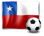 The flag of Chile with a soccer ball — Stock Vector