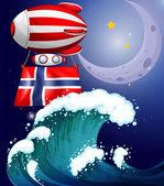 一个浮动的气球的挪威国旗 — 图库矢量图片