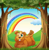 A smiling fat bear at the forest and a rainbow in the sky — Stock Vector