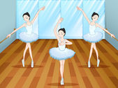 Three ballet dancers dancing inside the studio — Stock Vector