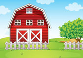 A barnhouse at the hilltop — Stock Vector