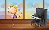 A woman dancing near the piano — Stock Vector