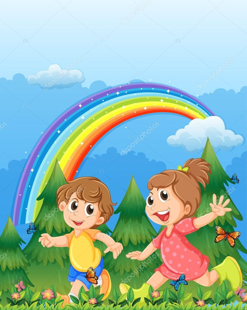Crian as brincando perto do jardim com um arco ris no c u for Aprendiendo y jugando jardin infantil