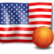 The American flag with a ball — Stock Vector