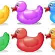 Six colorful rubber ducks — Stock Vector #41486789