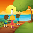 Three kids watching the lighthouse — Stock Vector