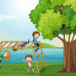 Kids climbing near the tree — Stock Vector