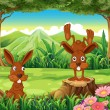 Two rabbits at the forest — Stock Vector