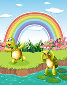 Two playful turtles at the pond with a rainbow in the sky — Stock Vector