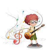 A young musician playing a guitar — Stock Vector