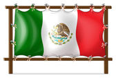 A wooden frame with the flag of Mexico — Stock Vector