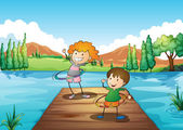 Two kids playing hulahoop at the river — Stock Vector