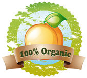 An organic label with a ripe orange — Stock Vector