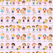 Seamless design with kids — Stock Vector