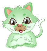 An adorable green cat — Stock Vector