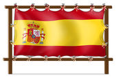 The flag of Spain attached to the wooden frame — Stock Vector