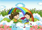 A couple dating near the rainbow — Stock Vector