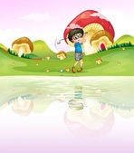 A boy playing golf at the riverbank — Stock Vector
