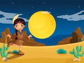A young Indian girl at the desert — Stock Vector