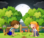 Two kids watching the growing plant — Stock Vector
