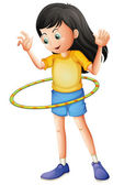 A young girl playing with a hulahoop — Stock Vector