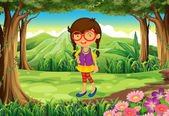 A nerd young lady at the forest — Stock Vector