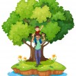 A young boy carried by his father near the big tree — Stock Vector #41833039
