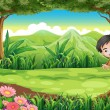 A smiling boy playing hide and seek at the forest — Stock Vector