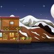 A beautiful wooden boathouse — Stockvector