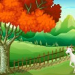 A white goat near the big tree — Stock Vector