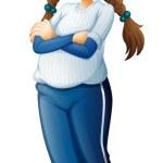 A female baseball player wearing a blue uniform — Stock Vector #41833213