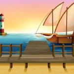 A ship exploring the sea — Stock Vector