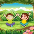 Two playful kids at the forest — Stock Vector