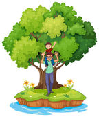 A young boy carried by his father near the big tree — Stock Vector