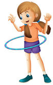 A pretty teenager playing with the hulahoop — Stock Vector