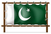 A wooden frame with the flag of Pakistan — Stock Vector